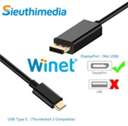 Cáp chuyển USB Type C to Displayport 1.8m WINET WN-18TyDP